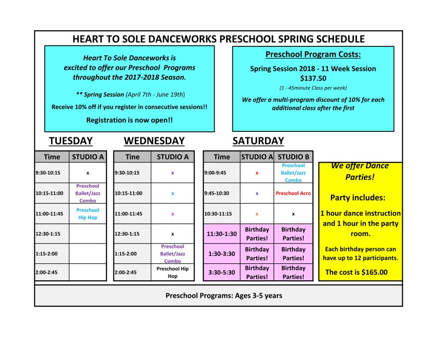 Preschool Schedule SPRING 2018-1