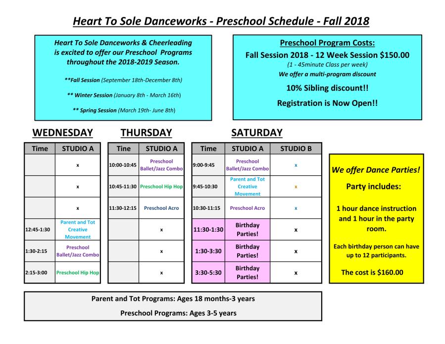 Preschool Schedule Fall 2018